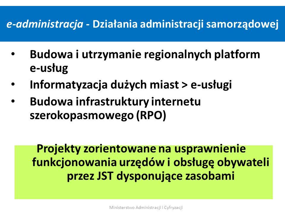 Budowa i utrzymanie regionalnych platform e-usług Informatyzacja dużych miast > e-usługi Budowa infrastruktury internetu szerokopasmowego (RPO) Projek