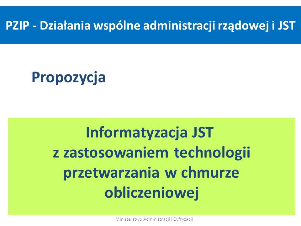 Propozycja Informatyzacja JST z zastosowaniem technologii przetwarzania w chmurze obliczeniowej Ministerstwo Administracji i Cyfryzacji PZIP - Działan