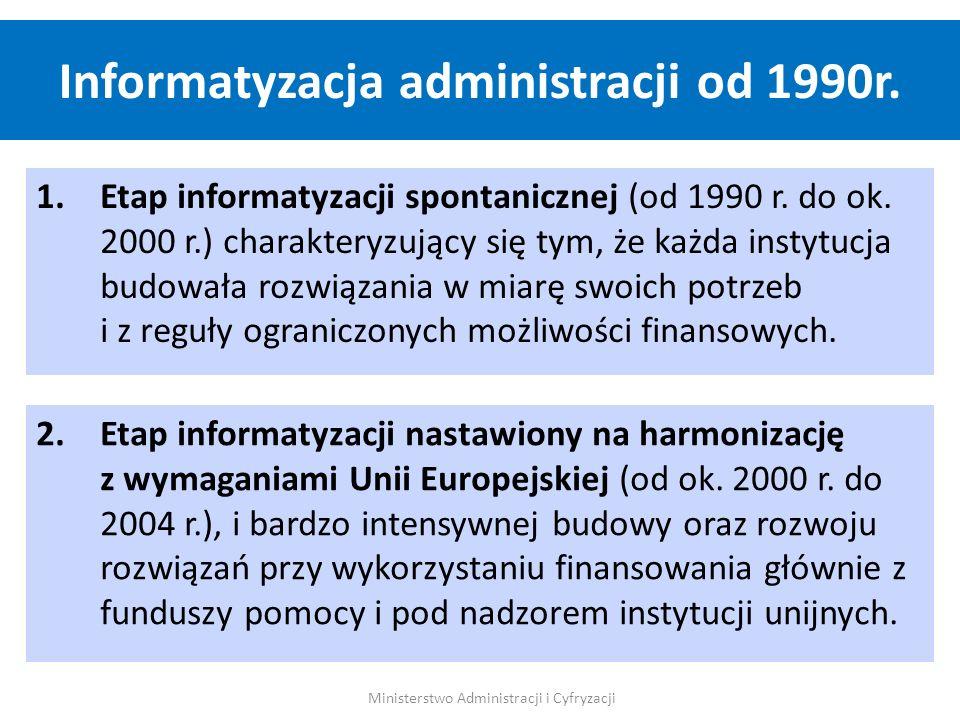 1.Etap informatyzacji spontanicznej (od 1990 r. do ok. 2000 r.) charakteryzujący się tym, że każda instytucja budowała rozwiązania w miarę swoich potr