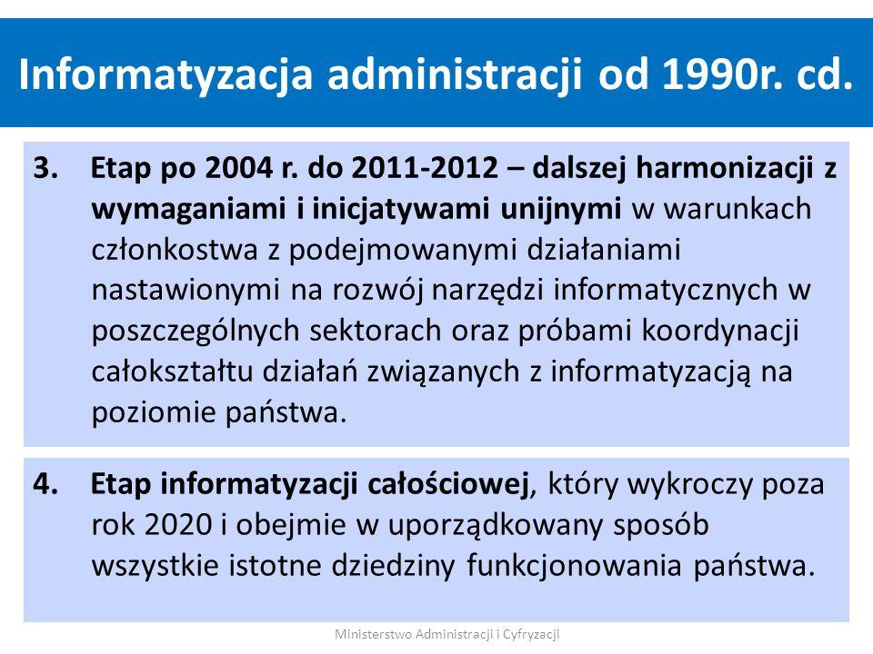 Zintegrowana informatyzacja, to kompleksowe, zarządcze podejście do budowy Systemu Informacyjnego Państwa przez administrację przy udziale wszystkich zainteresowanych stron: Administracji rządowej - resortów Jednostek Samorządu Terytorialnego Obywateli/Użytkowników Dostawców rozwiązań i technologii Ministerstwo Administracji i Cyfryzacji e-administracja - Istota Informatyzacji Zintegrowanej