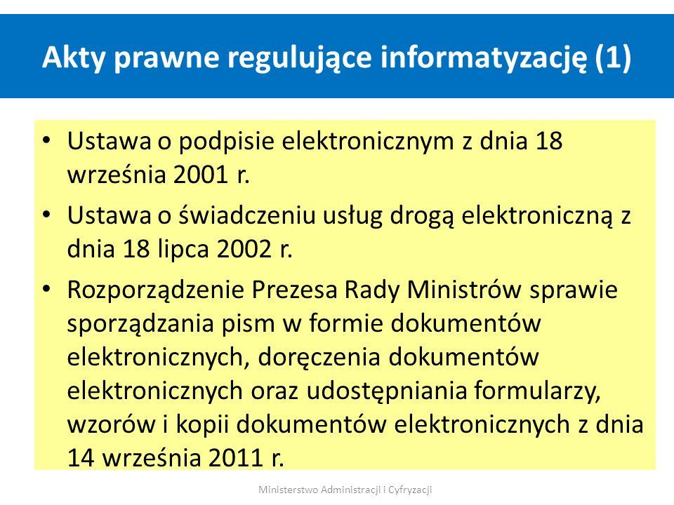 Akty prawne regulujące informatyzację (1) Ministerstwo Administracji i Cyfryzacji Ustawa o podpisie elektronicznym z dnia 18 września 2001 r. Ustawa o