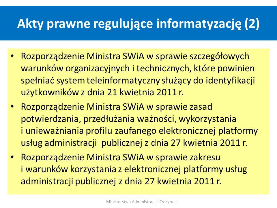 Akty prawne regulujące informatyzację (2) Ministerstwo Administracji i Cyfryzacji Rozporządzenie Ministra SWiA w sprawie szczegółowych warunków organi