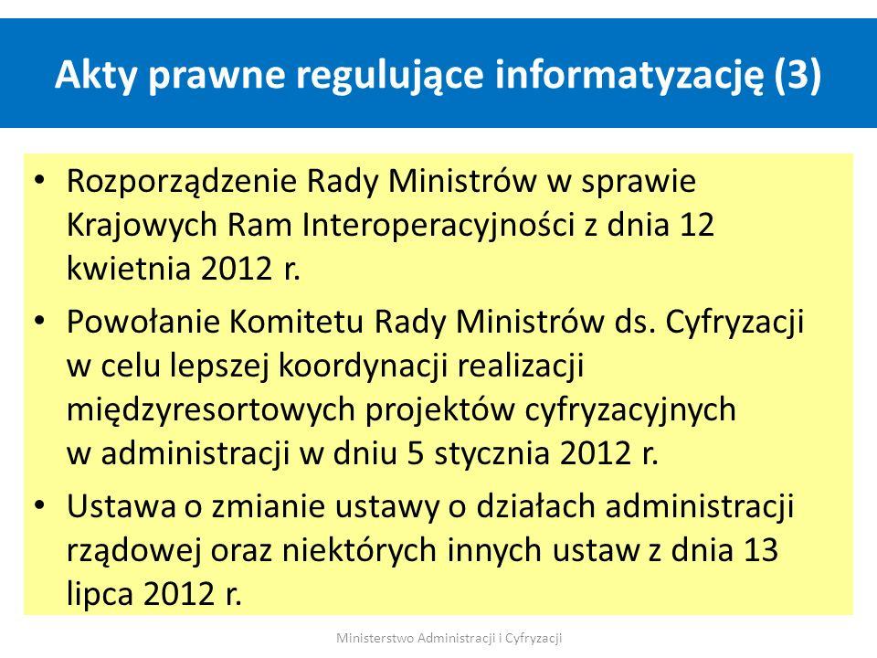 Akty prawne regulujące informatyzację (3) Ministerstwo Administracji i Cyfryzacji Rozporządzenie Rady Ministrów w sprawie Krajowych Ram Interoperacyjn