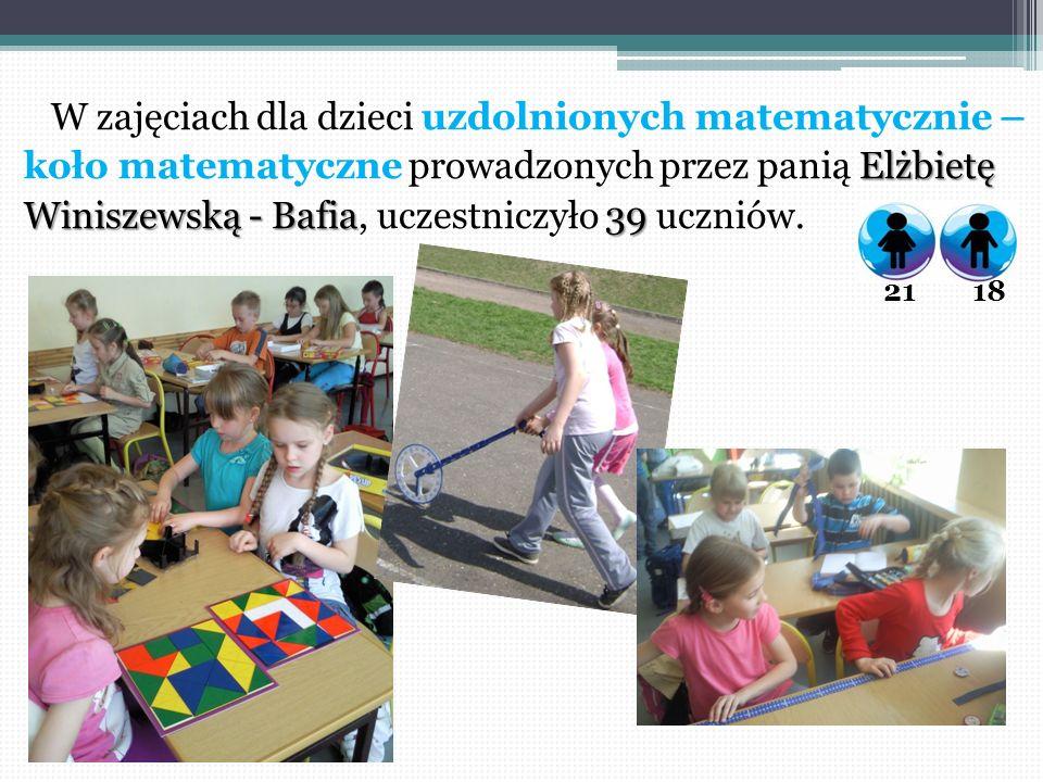 W zajęciach dla dzieci uzdolnionych matematycznie – Elżbietę koło matematyczne prowadzonych przez panią Elżbietę Winiszewską - Bafia39 Winiszewską - B