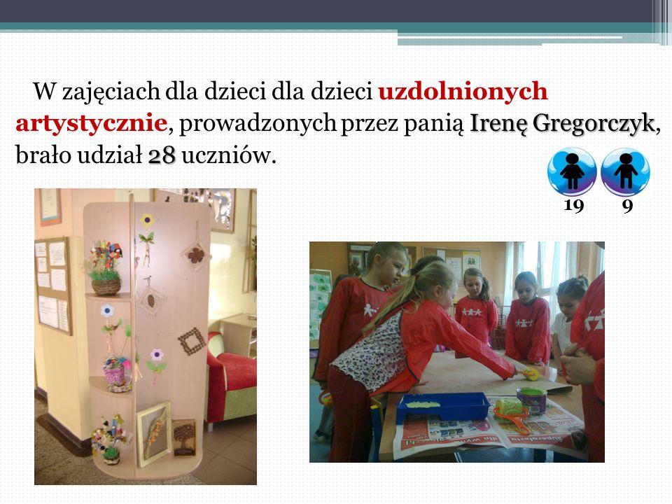 W zajęciach dla dzieci dla dzieci uzdolnionych Irenę Gregorczyk artystycznie, prowadzonych przez panią Irenę Gregorczyk, 28 brało udział 28 uczniów. 1