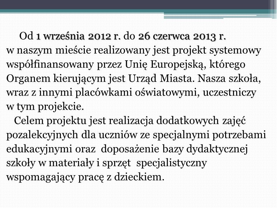 1 września 2012 r. 26 czerwca 2013 r. Od 1 września 2012 r. do 26 czerwca 2013 r. w naszym mieście realizowany jest projekt systemowy współfinansowany