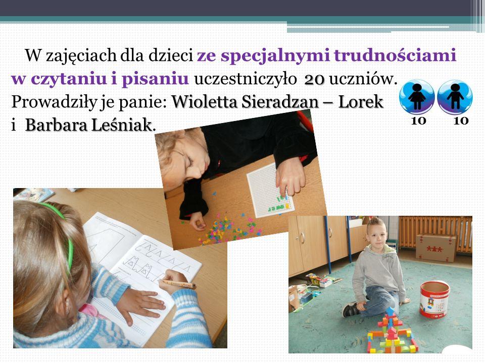W zajęciach dla dzieci ze specjalnymi trudnościami 20 w czytaniu i pisaniu uczestniczyło 20 uczniów. Wioletta Sieradzan – Lorek Prowadziły je panie: W