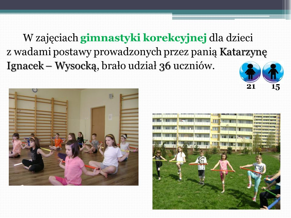 W zajęciach gimnastyki korekcyjnej dla dzieci Katarzynę z wadami postawy prowadzonych przez panią Katarzynę Ignacek – Wysocką36 Ignacek – Wysocką, bra