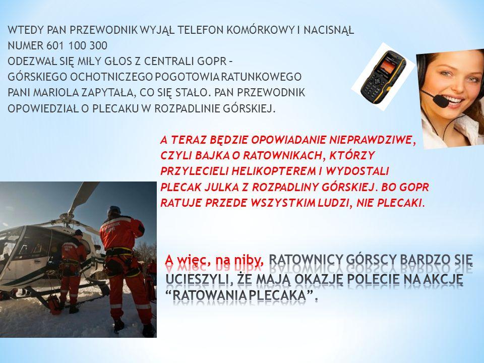 WTEDY PAN PRZEWODNIK WYJĄŁ TELEFON KOMÓRKOWY I NACISNĄŁ NUMER 601 100 300 ODEZWAŁ SIĘ MIŁY GŁOS Z CENTRALI GOPR – GÓRSKIEGO OCHOTNICZEGO POGOTOWIA RAT