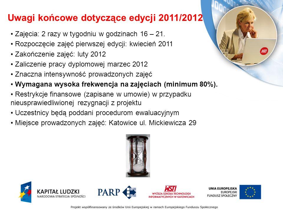 Uwagi końcowe dotyczące edycji 2011/2012 Zajęcia: 2 razy w tygodniu w godzinach 16 – 21.
