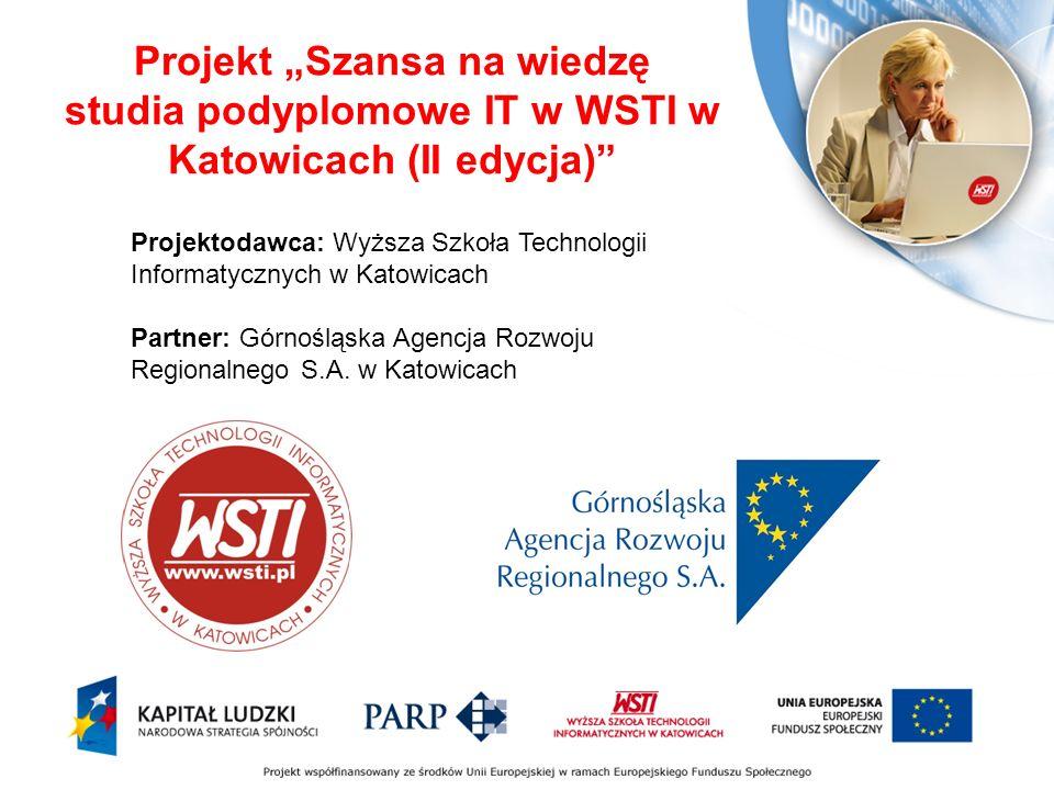 Projektodawca: Wyższa Szkoła Technologii Informatycznych w Katowicach Partner: Górnośląska Agencja Rozwoju Regionalnego S.A.
