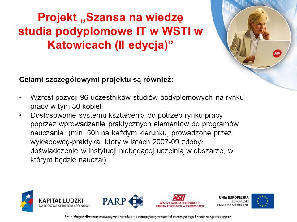 Projekt Szansa na wiedzę studia podyplomowe IT w WSTI w Katowicach (II edycja) Celami szczegółowymi projektu są również: Wzrost pozycji 96 uczestników studiów podyplomowych na rynku pracy w tym 30 kobiet Dostosowanie systemu kształcenia do potrzeb rynku pracy poprzez wprowadzenie praktycznych elementów do programów nauczania (min.