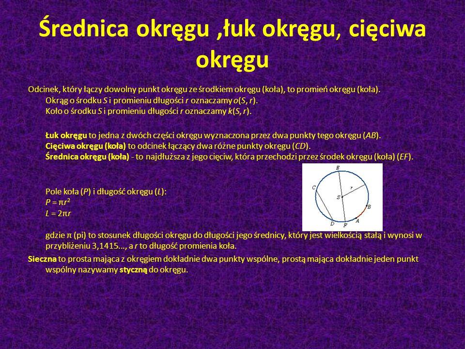 Okr ą g Okrąg – brzeg koła; zbiór wszystkich punktów płaszczyzny euklidesowej odległych od ustalonego punktu, nazywanego środkiem, o zadaną odległość,