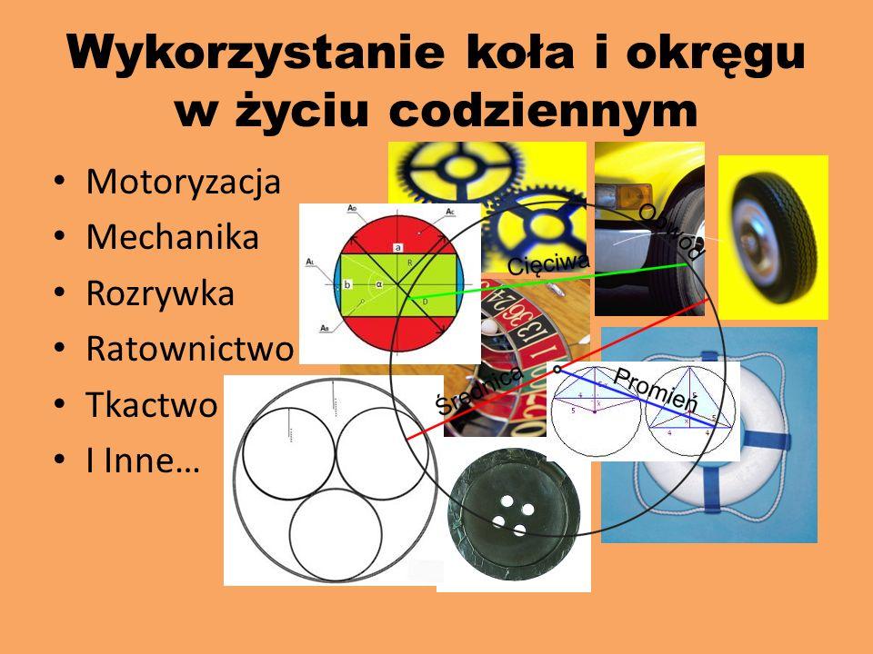 Okrąg i koło Koło znane było we wszystkich kulturach od najdawniejszych czasów. Zastosowane zostało tam, gdzie zachodziła potrzeba transportu na więks
