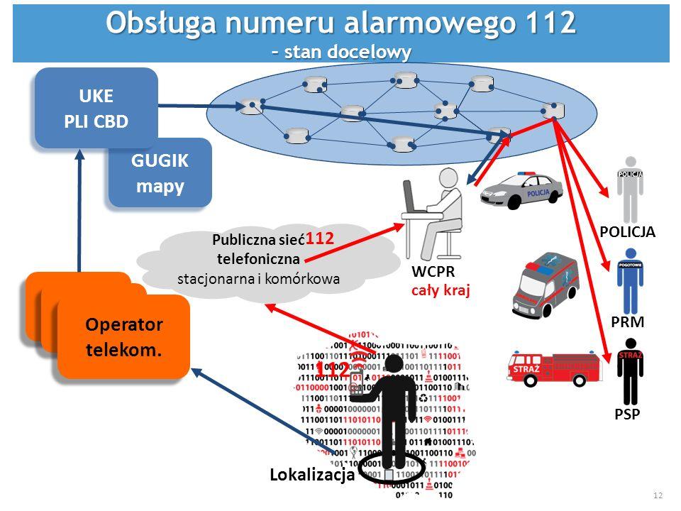 Lokalizacja 112 Operator telekom. GUGIK mapy GUGIK mapy POLICJA PRM PSP UKE PLI CBD UKE PLI CBD Publiczna sieć telefoniczna stacjonarna i komórkowa WC