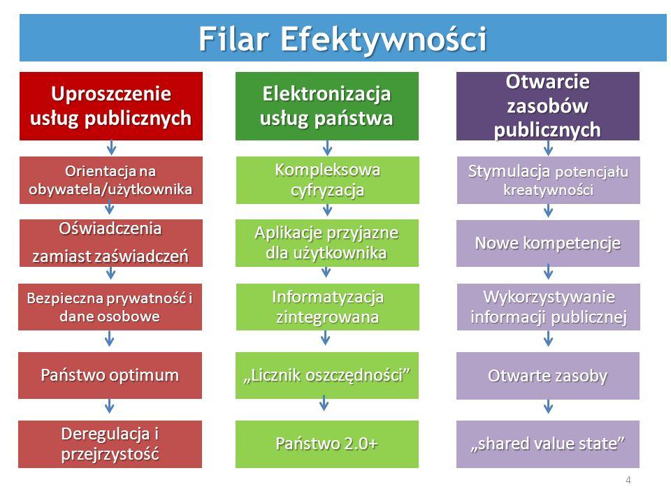 Państwo optimum Otwarte zasoby Filar Efektywności Licznik oszczędności Informatyzacja zintegrowana Kompleksowa cyfryzacja Elektronizacja usług państwa