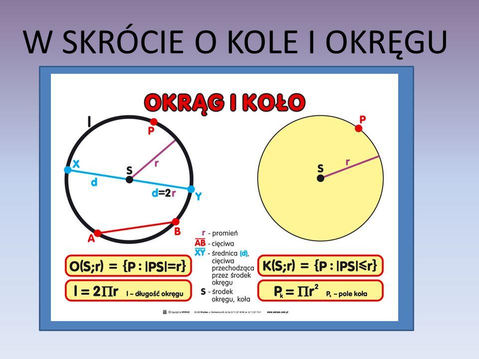 OBWÓD KOŁA Wzór na obwód koła Obwód koła jest proporcjonalny do jego średnicy.