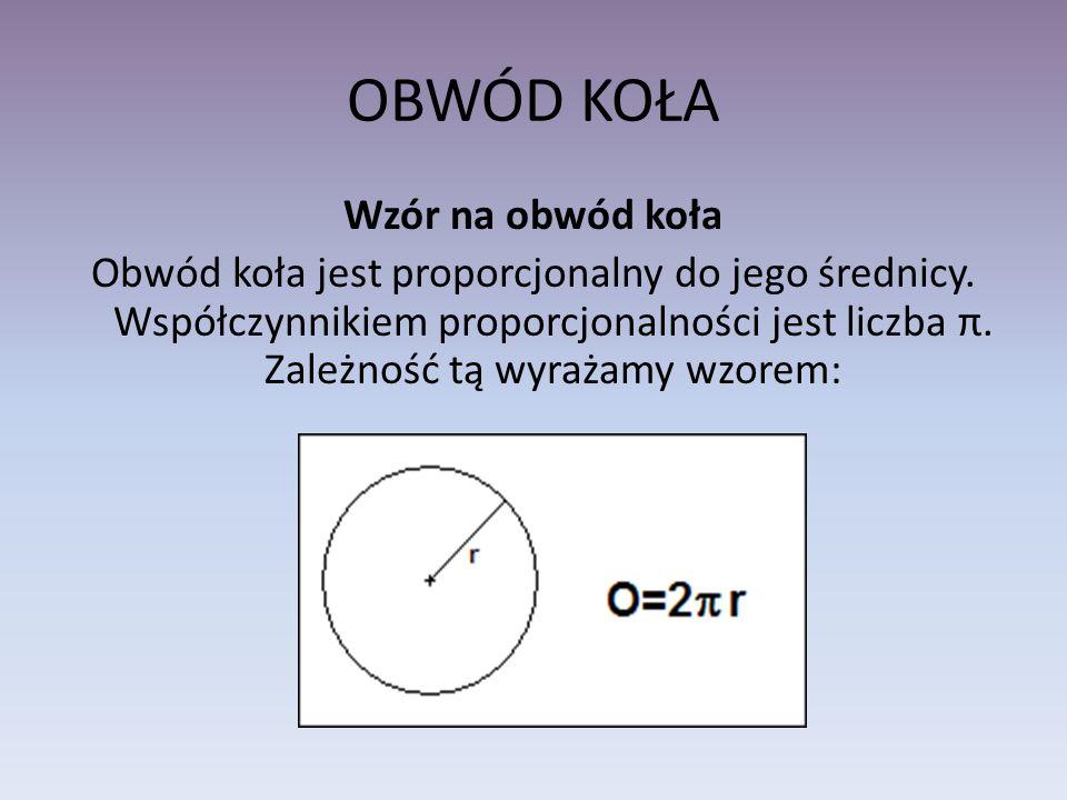 OBWÓD KOŁA Wzór na obwód koła Obwód koła jest proporcjonalny do jego średnicy. Współczynnikiem proporcjonalności jest liczba π. Zależność tą wyrażamy