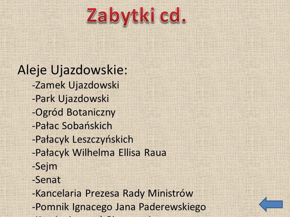 Aleje Ujazdowskie: -Zamek Ujazdowski -Park Ujazdowski -Ogród Botaniczny -Pałac Sobańskich -Pałacyk Leszczyńskich -Pałacyk Wilhelma Ellisa Raua -Sejm -