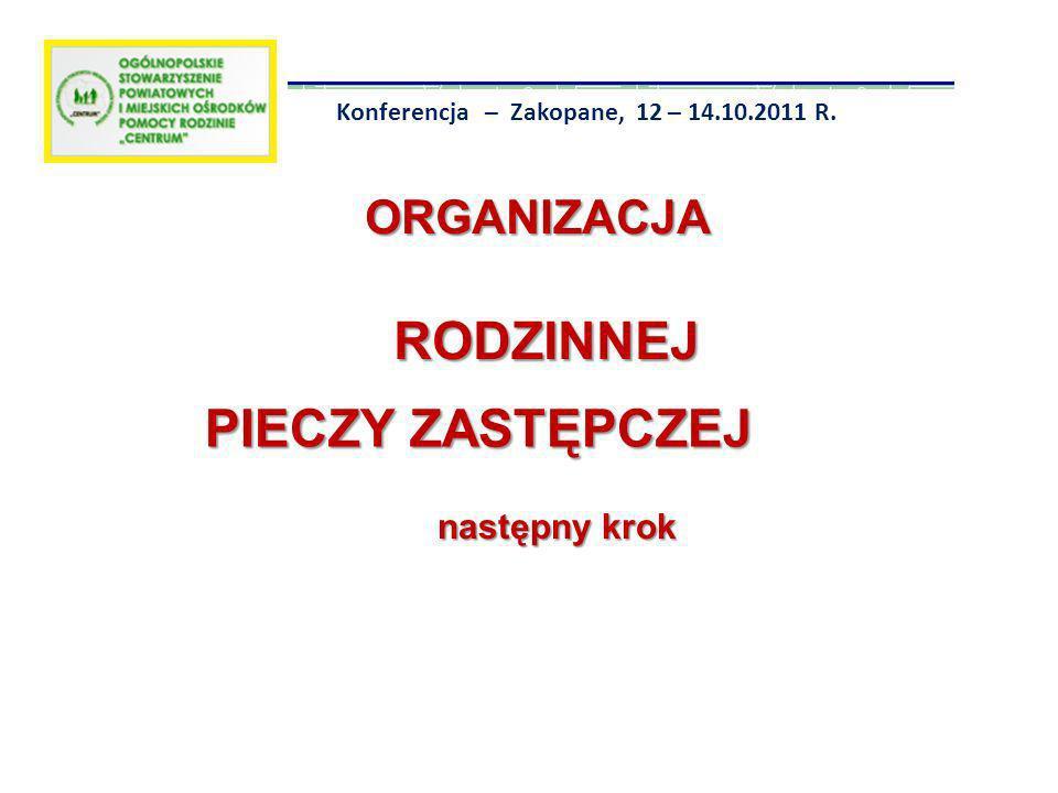 ORGANIZACJA RODZINNEJ ORGANIZACJA RODZINNEJ PIECZY ZASTĘPCZEJ następny krok Konferencja – Zakopane, 12 – 14.10.2011 R.