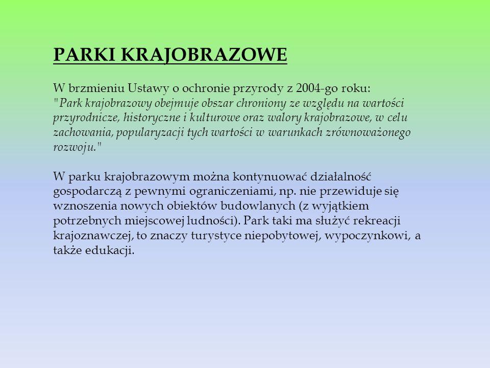 PARKI KRAJOBRAZOWE W brzmieniu Ustawy o ochronie przyrody z 2004-go roku: