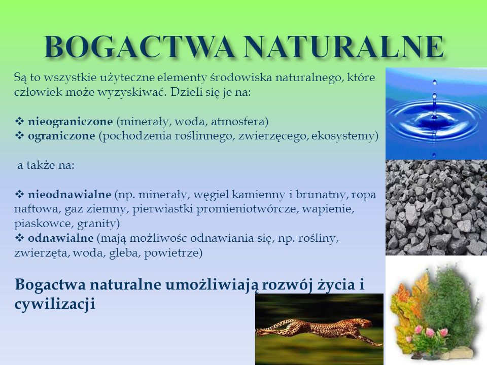 Są to wszystkie użyteczne elementy środowiska naturalnego, które człowiek może wyzyskiwać. Dzieli się je na: nieograniczone (minerały, woda, atmosfera