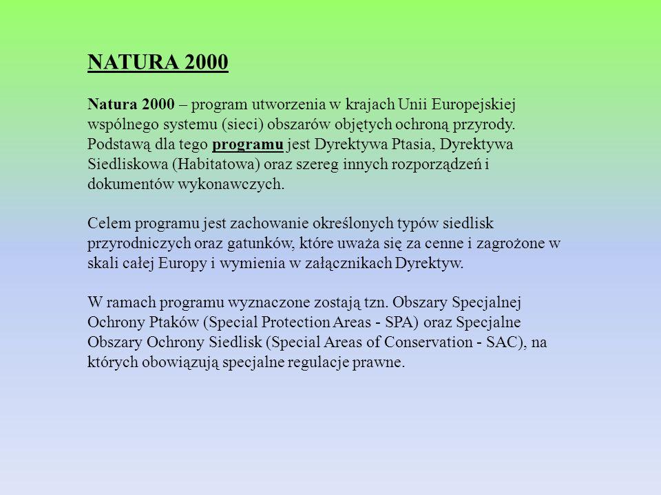 NATURA 2000 Natura 2000 – program utworzenia w krajach Unii Europejskiej wspólnego systemu (sieci) obszarów objętych ochroną przyrody. Podstawą dla te