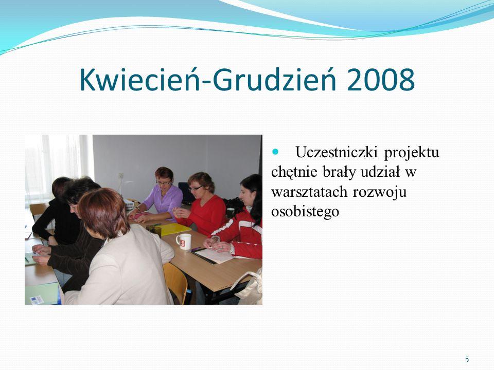 Kwiecień-Grudzień 2008 Uczestniczki projektu chętnie brały udział w warsztatach rozwoju osobistego 5