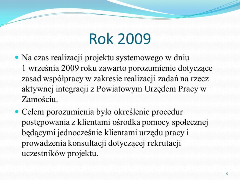 Rok 2009 Na czas realizacji projektu systemowego w dniu 1 września 2009 roku zawarto porozumienie dotyczące zasad współpracy w zakresie realizacji zadań na rzecz aktywnej integracji z Powiatowym Urzędem Pracy w Zamościu.
