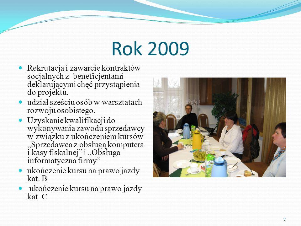 Rok 2009 Rekrutacja i zawarcie kontraktów socjalnych z beneficjentami deklarującymi chęć przystąpienia do projektu.
