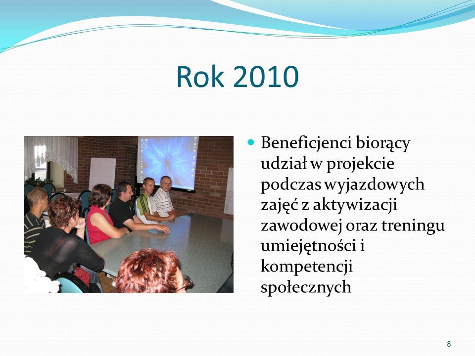 Rok 2010 Beneficjenci biorący udział w projekcie podczas wyjazdowych zajęć z aktywizacji zawodowej oraz treningu umiejętności i kompetencji społecznych 8