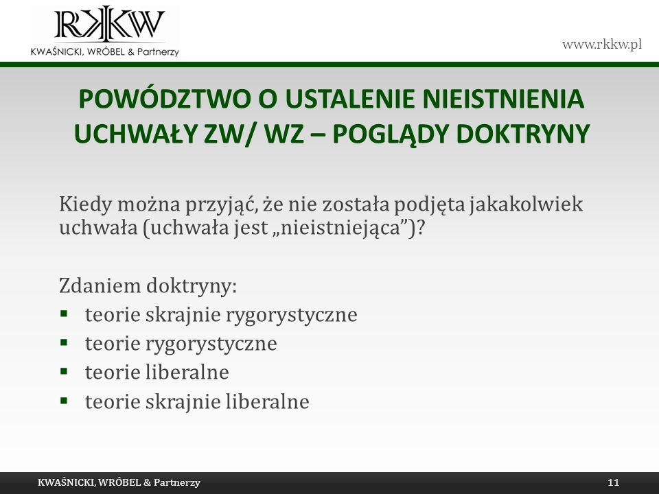 www.rkkw.pl POWÓDZTWO O USTALENIE NIEISTNIENIA UCHWAŁY ZW/ WZ – POGLĄDY DOKTRYNY Kiedy można przyjąć, że nie została podjęta jakakolwiek uchwała (uchw