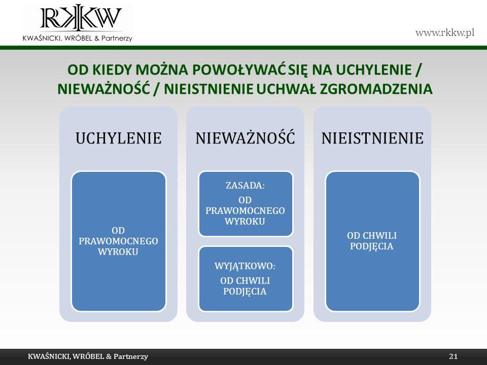 www.rkkw.pl OD KIEDY MOŻNA POWOŁYWAĆ SIĘ NA UCHYLENIE / NIEWAŻNOŚĆ / NIEISTNIENIE UCHWAŁ ZGROMADZENIA KWAŚNICKI, WRÓBEL & Partnerzy21