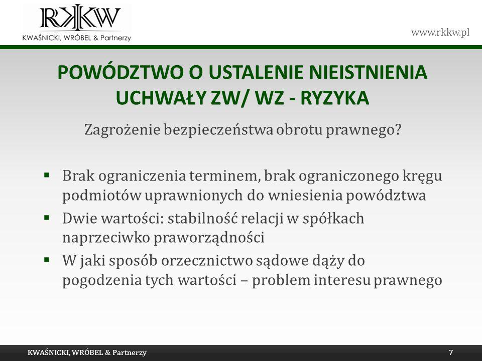 www.rkkw.pl POWÓDZTWO O USTALENIE NIEISTNIENIA UCHWAŁY ZW/ WZ - RYZYKA Zagrożenie bezpieczeństwa obrotu prawnego? Brak ograniczenia terminem, brak ogr