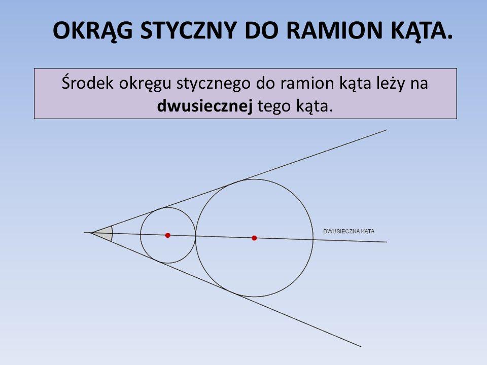 OKRĄG STYCZNY DO RAMION KĄTA. Środek okręgu stycznego do ramion kąta leży na dwusiecznej tego kąta.