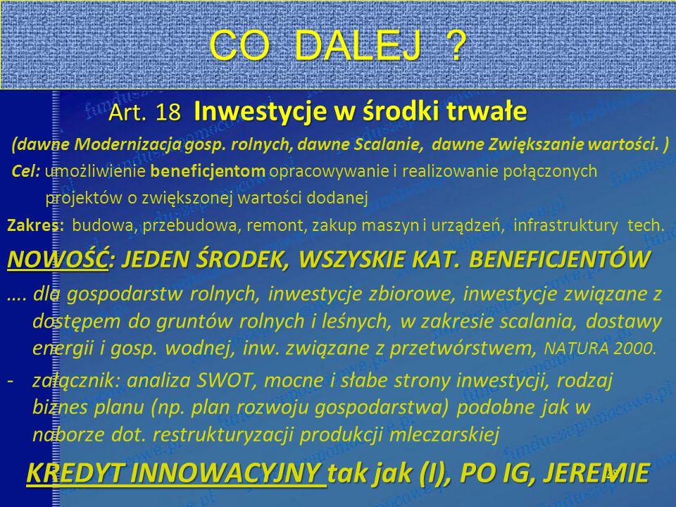 28 CO DALEJ . Art. 18 Inwestycje w środki trwałe (dawne Modernizacja gosp.
