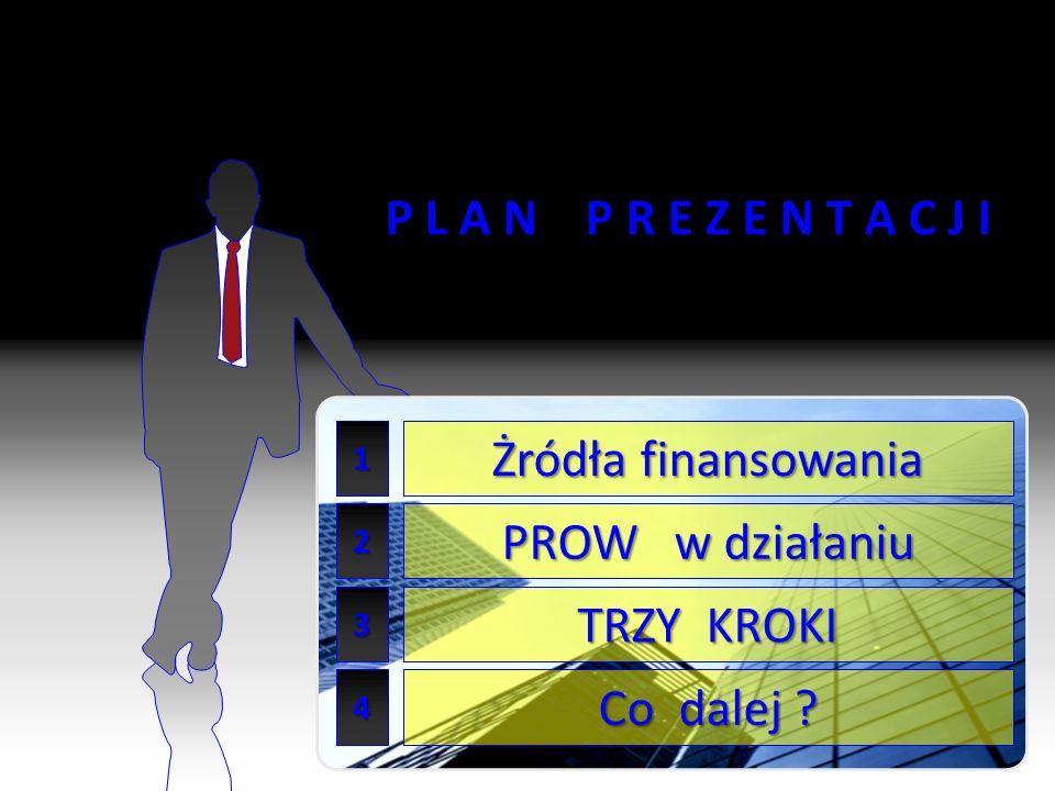 3 P L A N P R E Z E N T A C J I 1 2 3 Żródła finansowania TRZY KROKI Co dalej PROW w działaniu 4