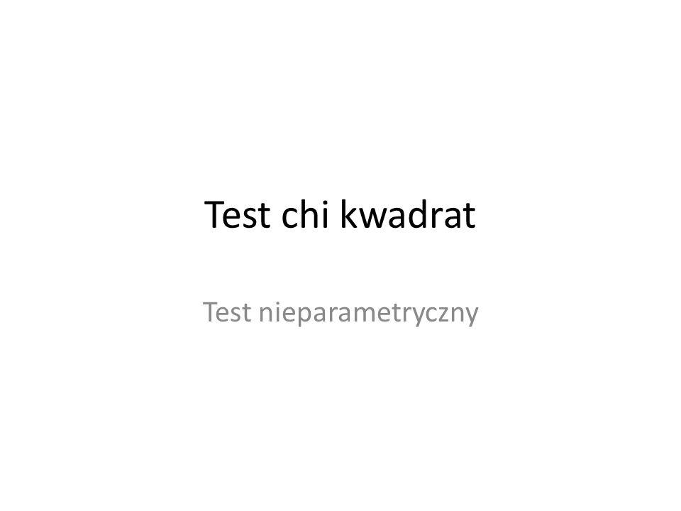 Test chi kwadrat Test nieparametryczny