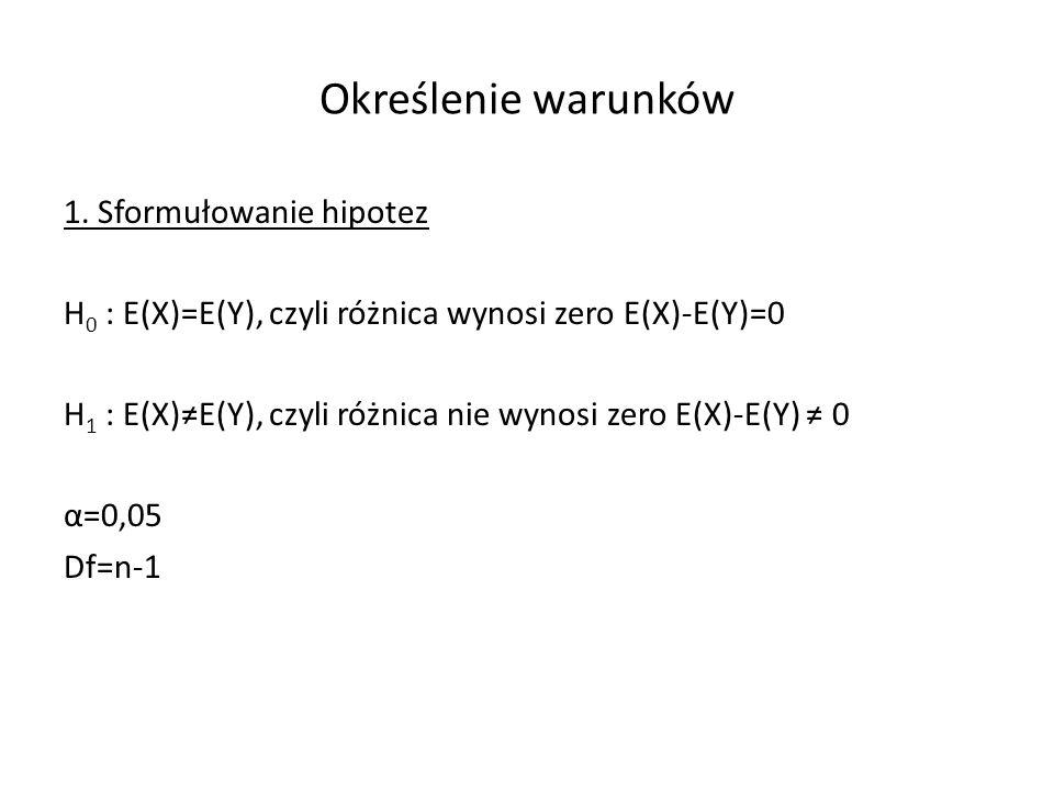Określenie warunków 1. Sformułowanie hipotez H 0 : E(X)=E(Y), czyli różnica wynosi zero E(X)-E(Y)=0 H 1 : E(X)E(Y), czyli różnica nie wynosi zero E(X)