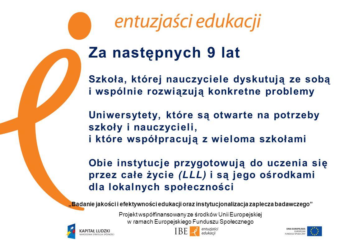 Za następnych 9 lat Szkoła, której nauczyciele dyskutują ze sobą i wspólnie rozwiązują konkretne problemy Uniwersytety, które są otwarte na potrzeby szkoły i nauczycieli, i które współpracują z wieloma szkołami Obie instytucje przygotowują do uczenia się przez całe życie (LLL) i są jego ośrodkami dla lokalnych społeczności Badanie jakości i efektywności edukacji oraz instytucjonalizacja zaplecza badawczego Projekt współfinansowany ze środków Unii Europejskiej w ramach Europejskiego Funduszu Społecznego