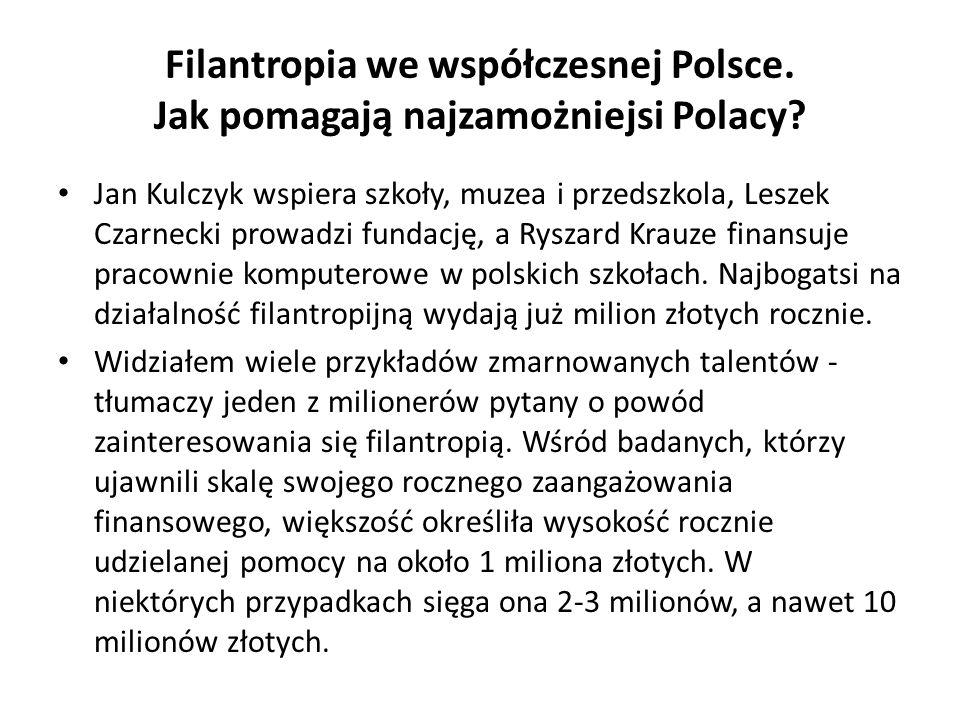 Filantropia we współczesnej Polsce. Jak pomagają najzamożniejsi Polacy? Jan Kulczyk wspiera szkoły, muzea i przedszkola, Leszek Czarnecki prowadzi fun