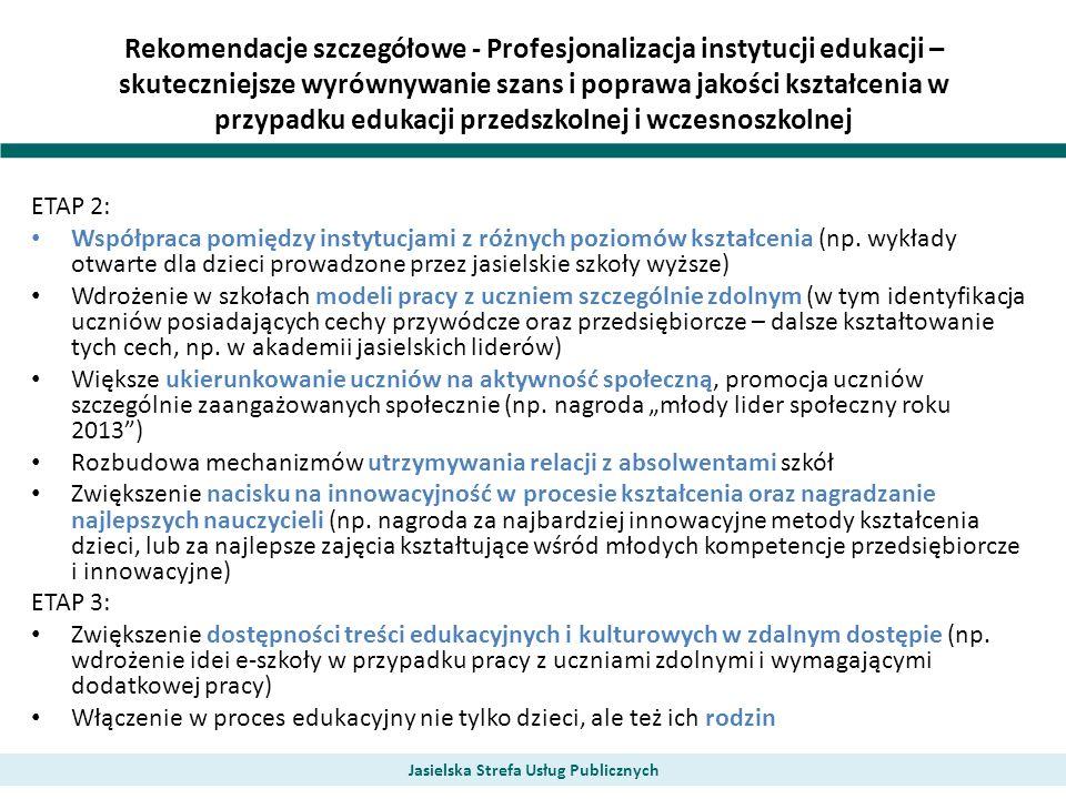 Rekomendacje szczegółowe - Profesjonalizacja instytucji edukacji – skuteczniejsze wyrównywanie szans i poprawa jakości kształcenia w przypadku edukacj