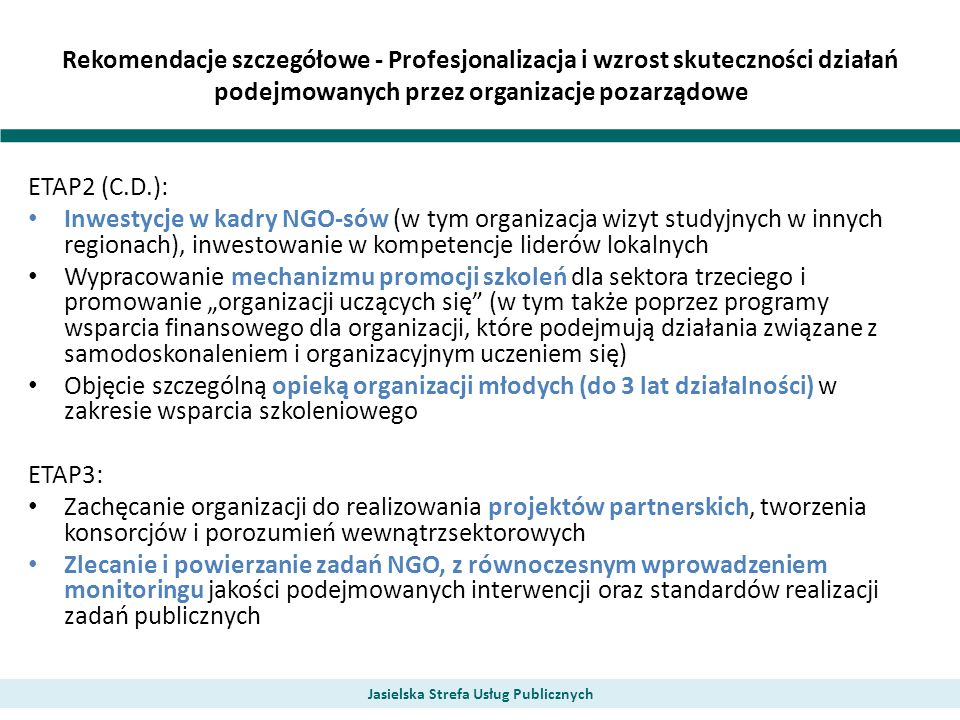 Rekomendacje szczegółowe - Profesjonalizacja i wzrost skuteczności działań podejmowanych przez organizacje pozarządowe Jasielska Strefa Usług Publiczn