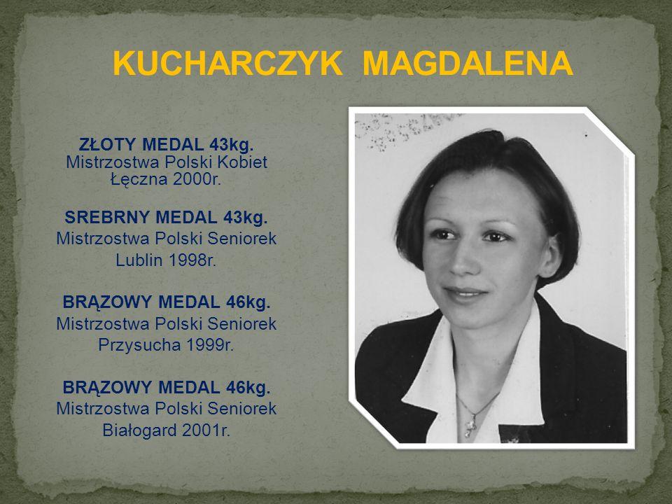 ZŁOTY MEDAL 43kg. Mistrzostwa Polski Kobiet Łęczna 2000r.