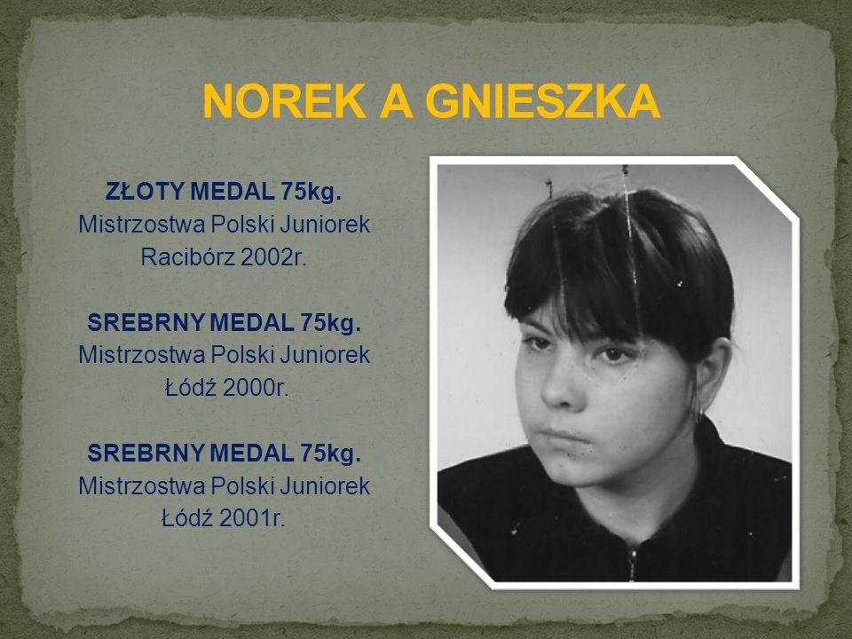 ZŁOTY MEDAL 75kg. Mistrzostwa Polski Juniorek Racibórz 2002r.