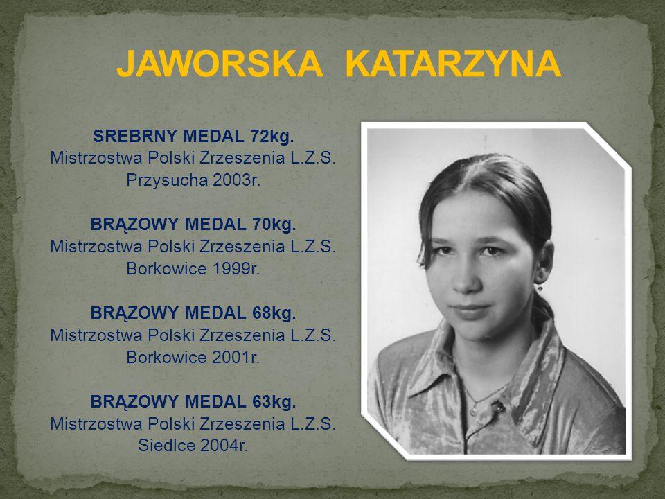 SREBRNY MEDAL 72kg. Mistrzostwa Polski Zrzeszenia L.Z.S.