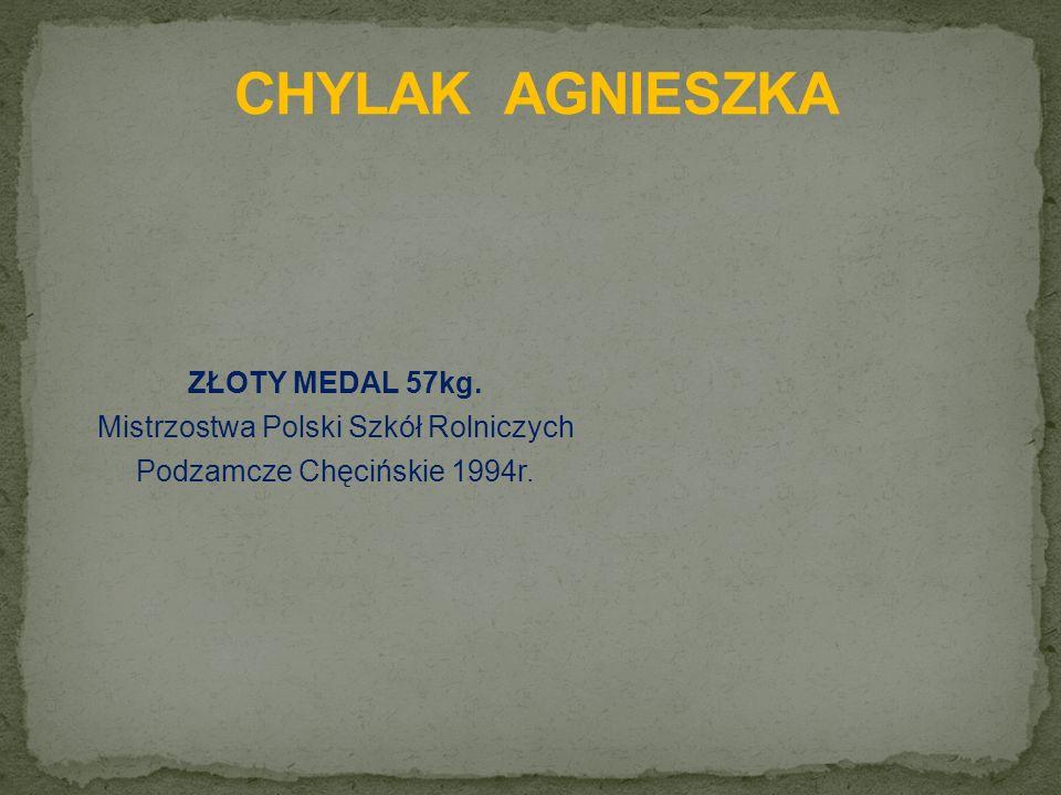 ZŁOTY MEDAL 57kg. Mistrzostwa Polski Szkół Rolniczych Podzamcze Chęcińskie 1994r.