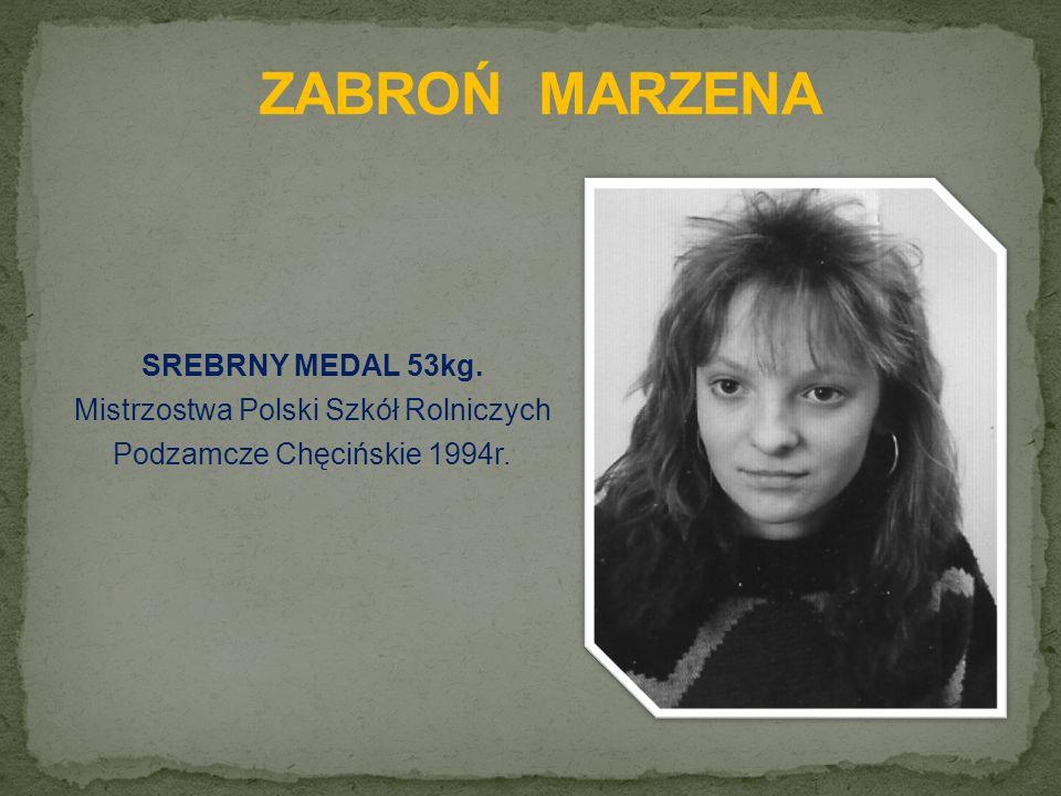 SREBRNY MEDAL 53kg. Mistrzostwa Polski Szkół Rolniczych Podzamcze Chęcińskie 1994r.