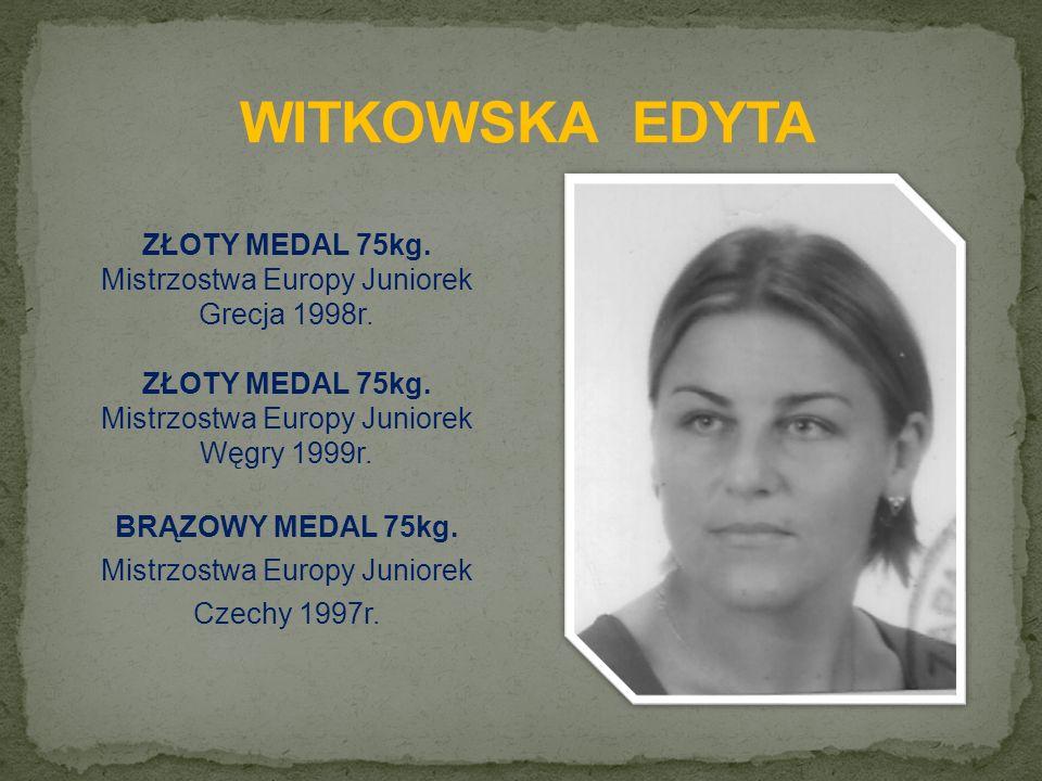 ZŁOTY MEDAL 75kg. Mistrzostwa Europy Juniorek Grecja 1998r.