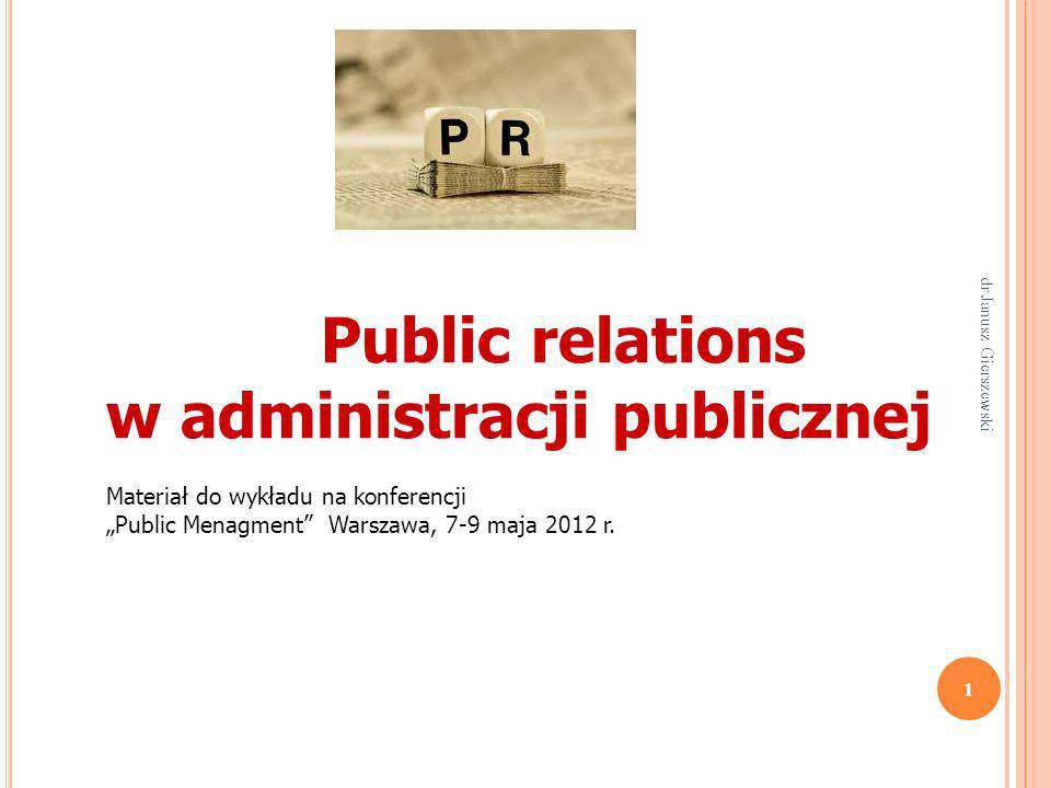 P ODSTAWOWE ELEMENTY / SKŁADOWE DZIAŁALNOŚCI SPOD ZNAKU PR Systematyczne śledzenie i kształtowanie obrazu organizacji w mediach, analizowanie opinii publicznej, przewidywanie możliwych reakcji i zmian opinii; Ciągłe i planowe zarządzanie komunikowaniem w obrębie i w otoczeniu organizacji w celu zdobywania akceptacji dla jej działań; Informacja : uczciwa, obiektywna, pełna, aktualna, fachowa, łatwa do wykorzystania, etyczna, odpowiedzialna; 52 dr Janusz Gierszewski